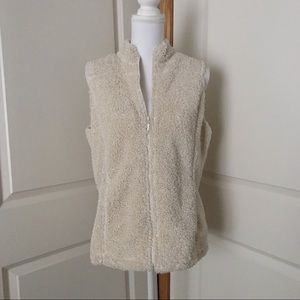 J. JILL Boucle Fuzzy Soft Zip Vest SZ MEDIUM